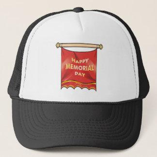 Happy Memorial Day Banner Trucker Hat