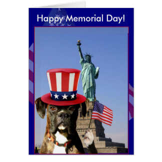 Happy Memorial Day boxer dog greeting card