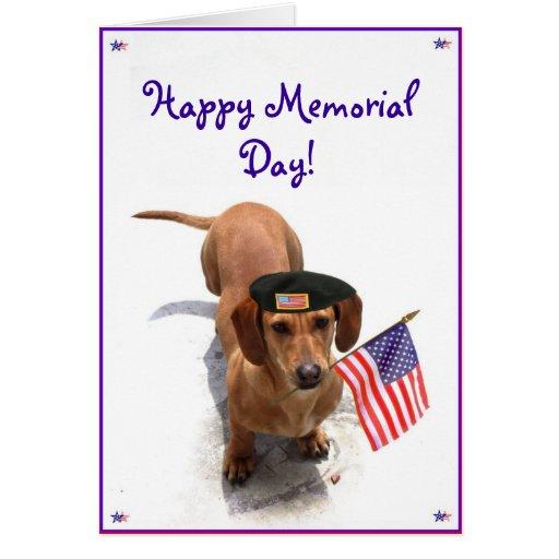Happy Memorial day Dachshund greeting card