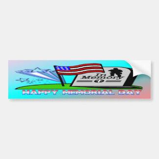 Happy Memorial Day - Flag Gravestone  Bumper Stick Bumper Sticker