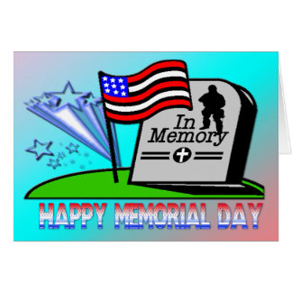 Happy Memorial Day - Flag Gravestone  Card