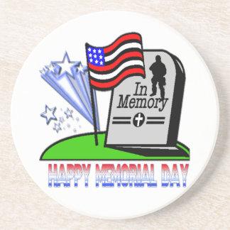 Happy Memorial Day - Flag Gravestone  Coaster
