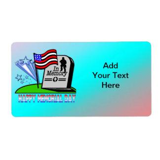 Happy Memorial Day - Flag Gravestone  Label Shipping Label
