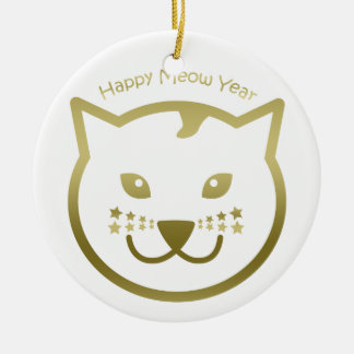 Happy Meow Year - Custom background color Ceramic Ornament