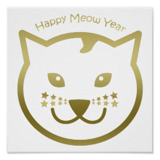 Happy Meow Year - Custom background color Poster