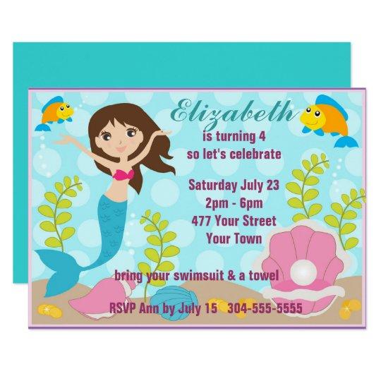 Happy Mermaid Pool Party Card