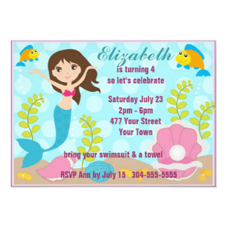 Happy Mermaid Pool Party 5x7 Paper Invitation Card