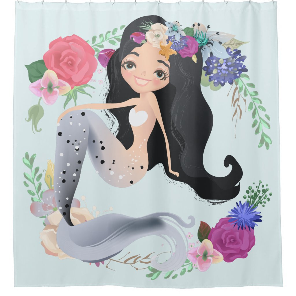 Happy Mermaid Wreath Flower Seaweed Shower Curtain