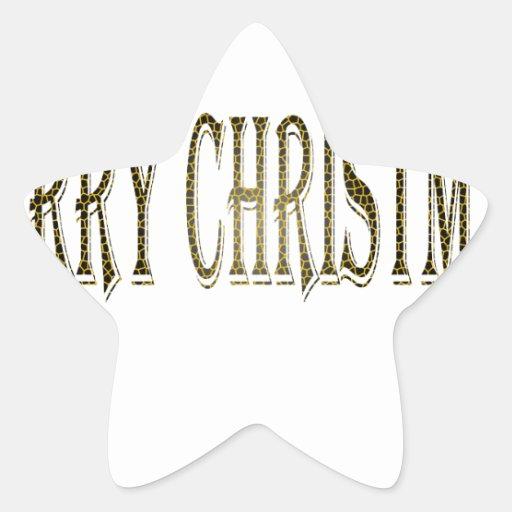 Happy Merry Christmas Star Sticker