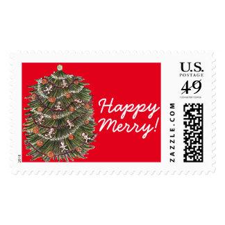 Happy Merry Christmas Tree Stamp