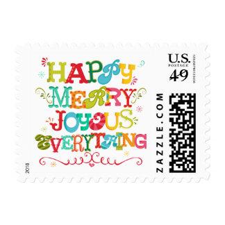Happy Merry Joyous Everything Holiday Postage