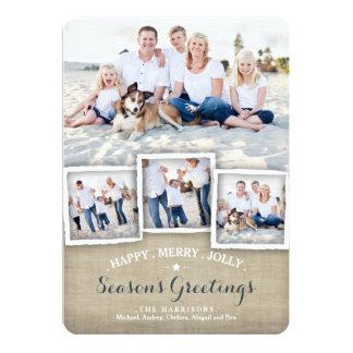 Happy Merry Rustic Burlap Photo Season's Greeting 5x7 Paper Invitation Card