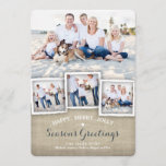 "Happy Merry Rustic Burlap Photo Season&#39;s Greeting Holiday Card<br><div class=""desc"">A collage of four photos of your family is featured in this lovely, rustic design that incorporates a burlap texture effect and festive season&#39;s greetings of Happy, Merry, Jolly. Whimsical typography in white and deep denim blue on the front and coordinating little snowflakes on the back all combine to make...</div>"