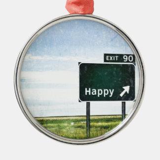 Happy Metal Ornament