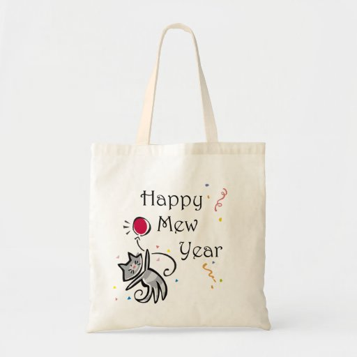 Happy Mew Year Canvas Bags