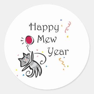 Happy Mew Year Classic Round Sticker