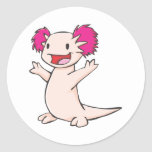 Happy Mexican Axolotl Cartoon Classic Round Sticker