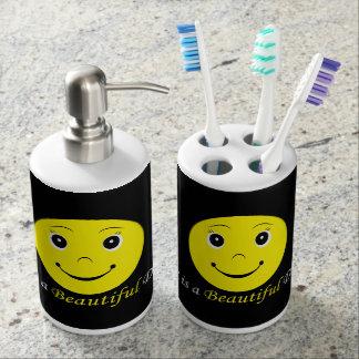 Happy Miley Toothbrush Holder & Soap Dispenser Set