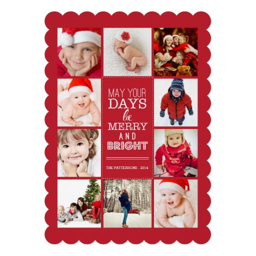 Happy Modern Merry & Bright Photo Collage Red Invites
