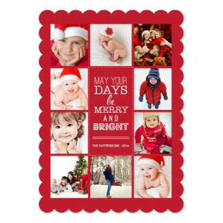 Happy Modern Merry & Bright Photo Collage Red 5x7 Paper Invitation Card