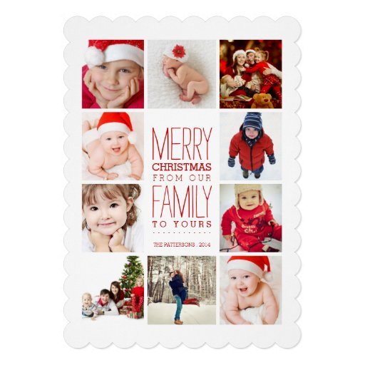 Happy Modern Merry Christmas Photo Collage   Red Invitations