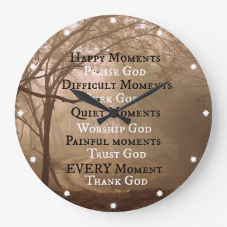 Happy Moments Praise God Quote Large Clock