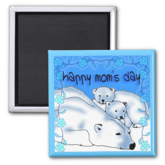 Happy Mom's Day bear cubs 2 Inch Square Magnet