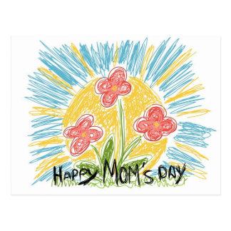 Happy Mom's Day - Flowers - Postcard