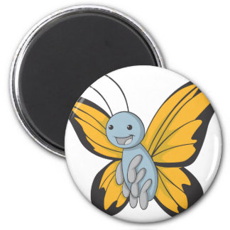 Happy Monarch Butterfly 2 Inch Round Magnet