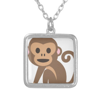 Happy Monkey Cartoon Silver Plated Necklace