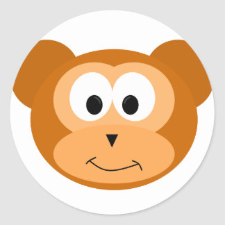 Happy Monkey Classic Round Sticker