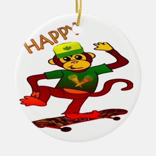 happy Monkey Ornament