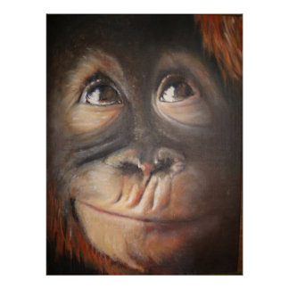 Happy Monkey Secret Thought Oil Painting Poster