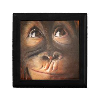 Happy Monkey Smiling Oil Painting Orangutan Keepsake Box