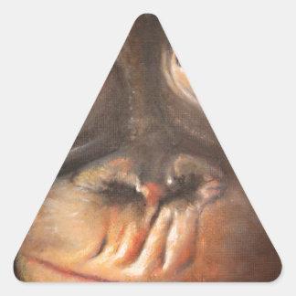 Happy Monkey Smiling Oil Painting Orangutan Triangle Sticker