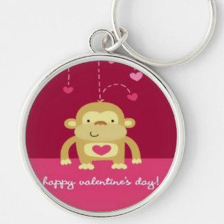 Happy Monkey Valentine's Keychain