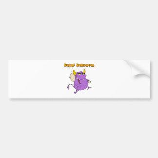 Happy Monster Runs With Bag Bumper Sticker