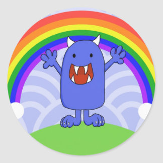 Happy Monster Classic Round Sticker