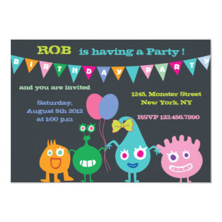 Happy Monsters -Birthday Party Invitations-black Card