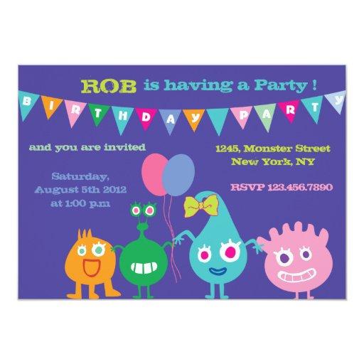 "Happy Monsters -Birthday Party Invitations-purple 5"" X 7"" Invitation Card"
