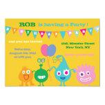 "Happy Monsters -Birthday Party Invitations-yellow 5"" X 7"" Invitation Card"