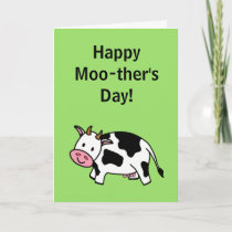 Happy Moo-ther's Day Moo Cow with Pink Udder Card