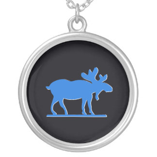 Happy Moose - Blue Silver Plated Necklace