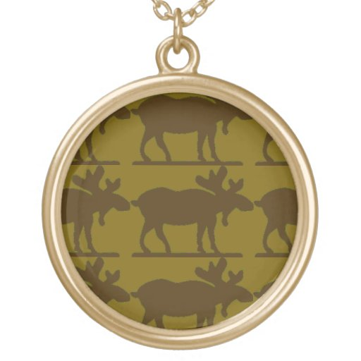 Happy Moose - SageBkg Round Pendant Necklace
