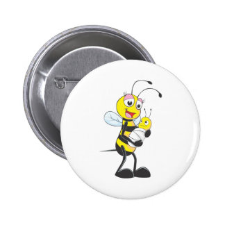 Happy Mother and Baby Bee Button