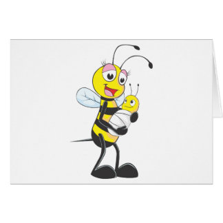 Happy Mother and Baby Bee Card
