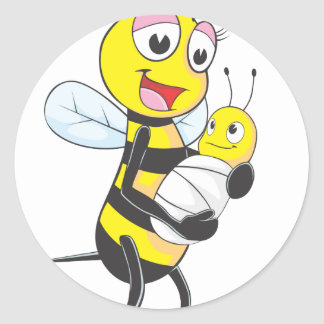 Happy Mother and Baby Bee Classic Round Sticker