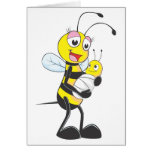 Happy Mother and Baby Bee Greeting Cards