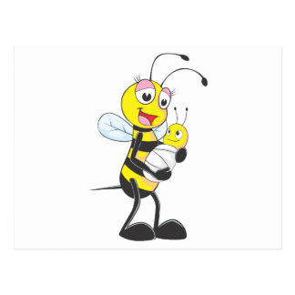 Happy Mother and Baby Bee Postcard
