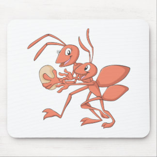 Happy Mother and Child Ant Playing Mouse Pad